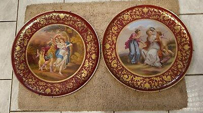 WOW! 19C Royal Vienna Pair Jeweled 14 Inch Chargers Super Paintings Great Colors