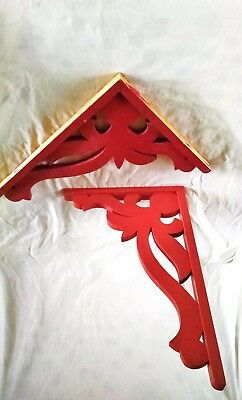 Pair of red corbels for book shelves or crafting ~ paint or leave as is ~ book s