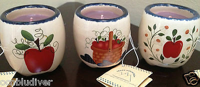 Set of 3-Crazy Mountain Ceramic Apple Themed Votive Holders w/ Candle's ~ NEW