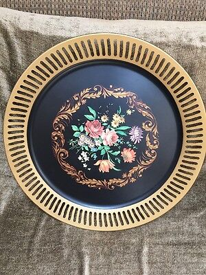 "Vintage Large Floral TOLEWARE Tole METAL TRAY 19"" Signed C.P. Meier"