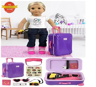 """18"""" inch Doll Travel Luggage Suitcase Playset for American Girl Dolls 7 Pcs Set"""
