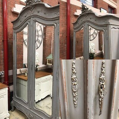 Stunning antique mirrored Shabby Chic  Armoire Wardrobe FREE DELIVERY WTH BIN