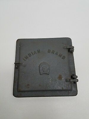 Vintage Cast Iron Coal/Wood Stove Door Indian Brand C V Iron Works Cowanesque PA