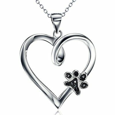 Sterling Silver Forever Love Heart Puppy Paw with Cubic Zircon Pendant Neckla...