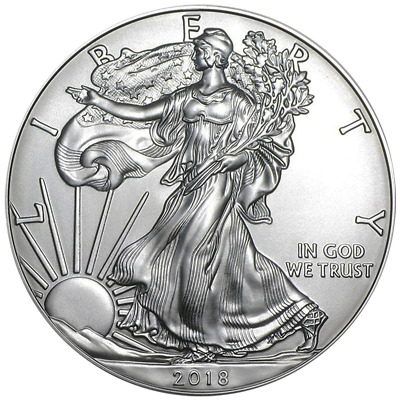 2018 1 Oz. Silver American Eagle $1 Coin - Brilliant Uncirculated From Mint Roll