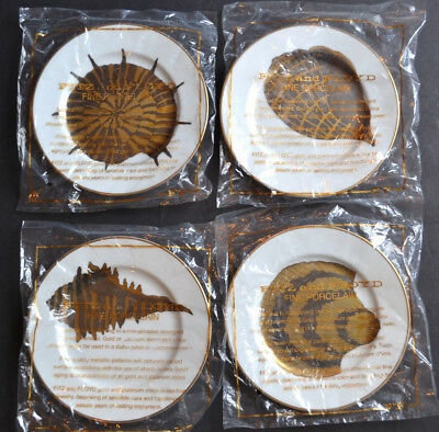 New Set (4) COQUILLES COMBINEES PLATES by Fitz & Floyd SHELL Design Sealed 1981