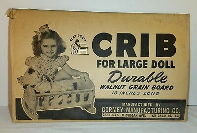 Never Used Nos Vintage 194Os 1950's Gormey Mfg Play Craft Large Walnut Doll Crib