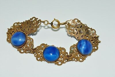 Antique Brass Filigree Blue Cabochon Crystal Glass Bracelet