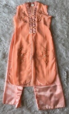 Girl's Chinese 100% Silk Sheer Peach Dress With Pant- Floral Design- Size 6-8