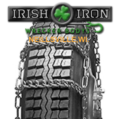 295/75-22.5 Reinforced V-BAR Tire Chains, 2847R, SET of TWO, Wrecker, Rollback.