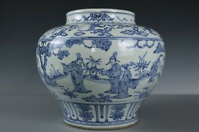 Chinese Beautiful Rare Blue and white Porcelain character Pot