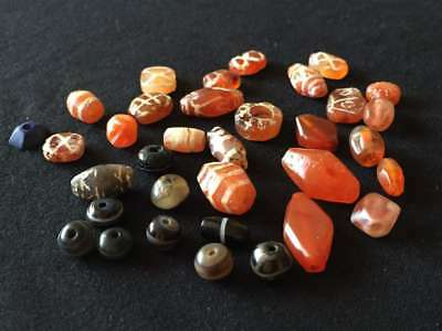 1500+ Year Old Antique Vintage Etched Carnelian Agate Beads Lot Tibet Authentic