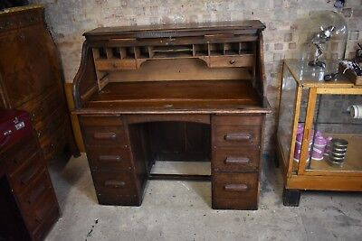 Antique Oak Tambour Fronted Desk Home Office Writing Desk