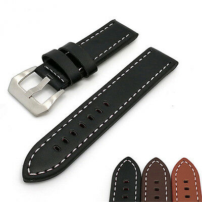 Mens Vintage Antique PU Leather Watch Band Strap 22mm 24mm 26mm Wristwatch Bands