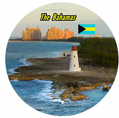 The Bahamas - Round Souvenir Fridge Magnet - Flags / New / Sights / Gifts