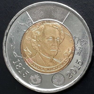 CANADA 1815-2015 CANADIAN TOONIE  2 Two DOLLARS JOHN A. MACDONALD TYPE A COIN.