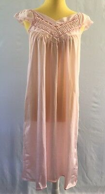 Vintage Nylon Nightgown Sleeveless Lace Full Sweep Silky Pink Unbranded Large