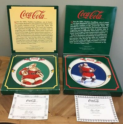 Coke-Cola Santa Plates 1990 1991 With Box & Papers EUC Lot Of 2