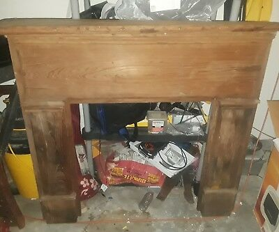 Antique wood fireplace mantel