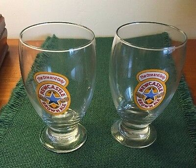NEWCASTLE Brown Ale 16 oz Schooner Glass Pint ~ Set Of Two (2) Glasses