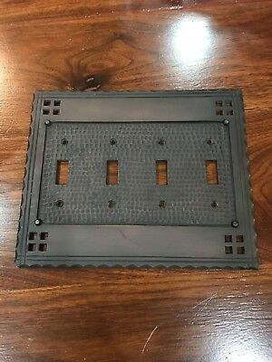 Arts and Crafts or Mission Oil Rubbed Bronze Brass Double Quad Switch Plate (4)