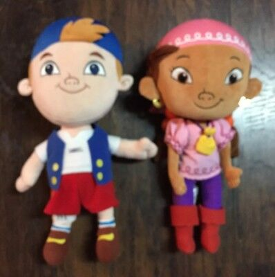 Disney Jake and the Neverland Pirates Cubby & Izzy Collectible Cloth Dolls EUC