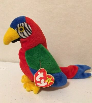 RARE Ty Beanie Baby Babies Jabber Parrot Bird Retired Tag Errors