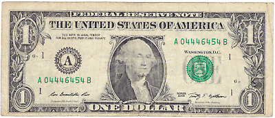 Fancy serial number circulated one dollar bill