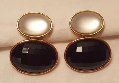 Black and Gold Vintage Clip On Earrings
