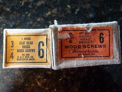 "VINTAGE Round & Flat Head Slotted Wood Screws 6 x 3/4"" Reed & Prince Gross Box"