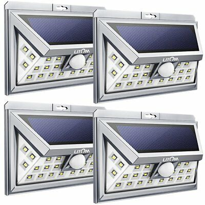 4 Pack 24 LED Litom Solar Powered Motion Sensor Light Outdoor Garden Wall Lamp