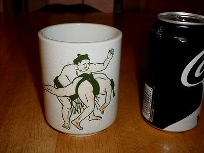 """ WAKANOHANA MASARU "" JAPANESE SUMO WRESTLER, (3-D) IMAGES, Ceramic Cup, Vintage"