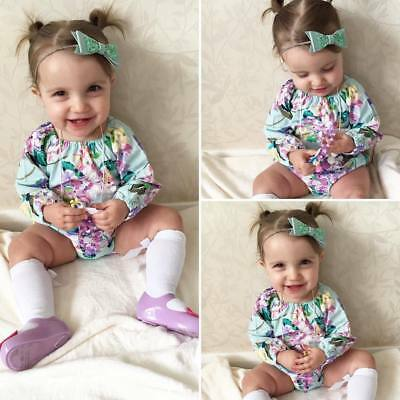 UK New Newborn Baby Girl Floral Romper Jumpsuit Bodysuit Outfits Clothes Summer