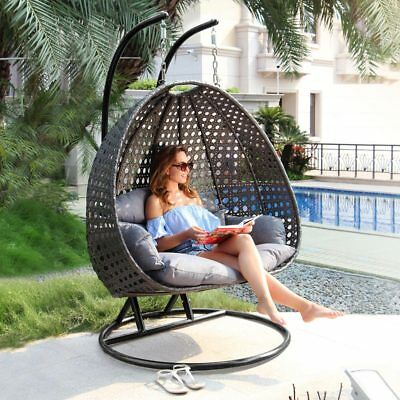 Outdoor Furniture Porch Swing Chair Double Hammock 2 Person Hanging Stand