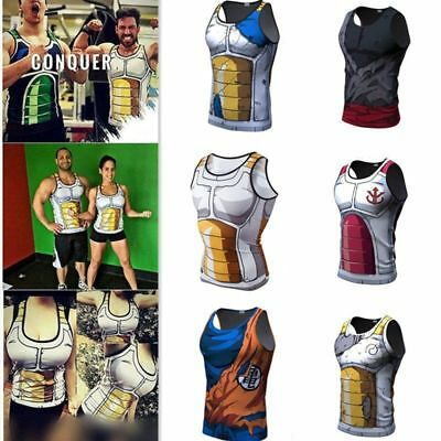 Men Women 3D Dragon Ball Z Training GYM Tank Tops T-Shirt Son Goku Vegeta Vest