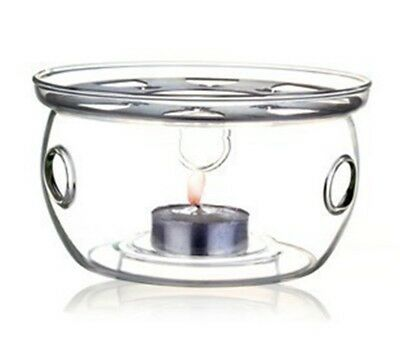 Teapot Holder Clear Glass Heat-Resisting Round Warmer Insulation Base Candle