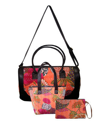 New Year Sale 2018 Indian Floral Print Kantha Quilted Hand Bag Shoulder Bag 3Pcs
