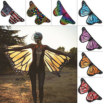 Soft Fabric Butterfly Wings Shawl Pixie Costume Accessory Fairy Ladies Nymph New