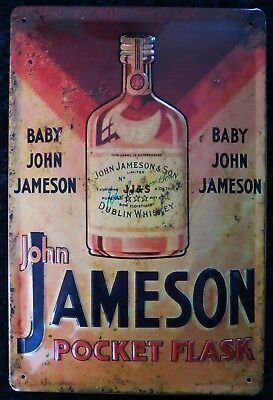 Jameson Flask , Whiskey Whisky, Irland Blechschild