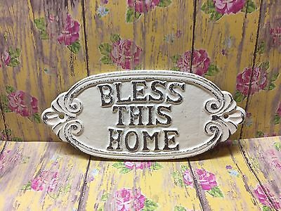 Cast Iron Shabby Chic Bless This Home Plaque Off White Door Sign Wall Decor