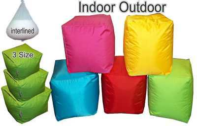 Cube Beanbag seat Foot stool Bean Bag Bags chair In Out Door Pouffe FILLED - UK