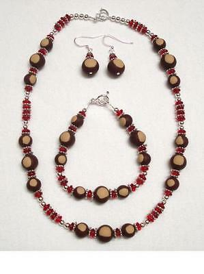 3 Pc Set OSU Buckeyes Handcrafted Necklace Earrings Bracelet/OHIO STATE Jewelry