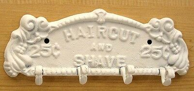 Cast Iron Haircut And Shave Plaque Hook Hanger Painted White  Western  Decor