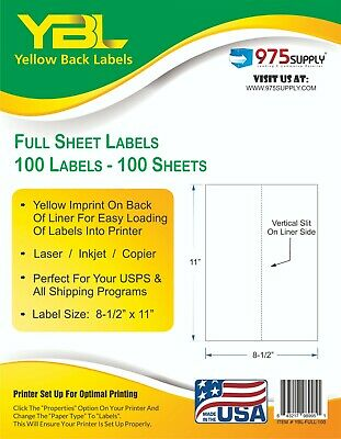 "YBL 8.5 x 11"" Full Sheet Labels 1000 pk Laser or Inkjet  1Up Yellow Backing"