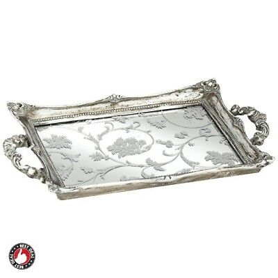 Mirored Serving Tray Antique Vanity Bathroom Makeup Mirror Organizer Perfume NEW
