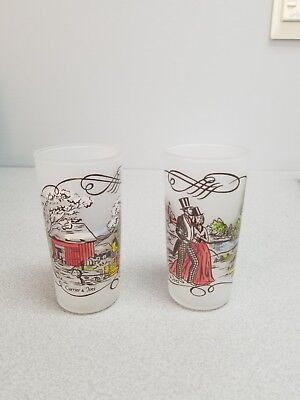 2 Frosted Currier & Ives Drinking Glasses