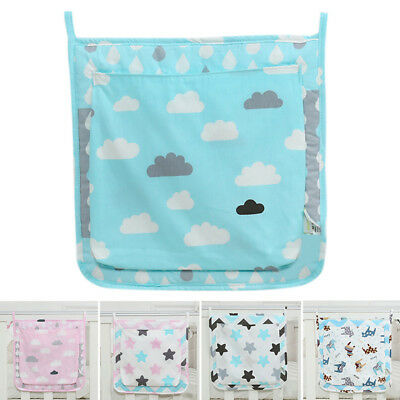 Crib Storage Bag Baby Cartoon Diapers Pouch Cot Bedside Hanging Organizer Bag