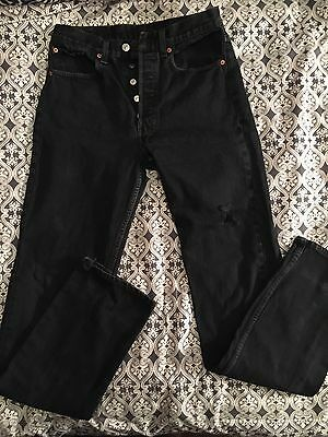 Levi's 501 VINTAGE 80's Black Faded High Waisted Button Fly Women's Jeans 31X36