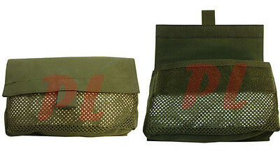 2 Pc Mesh Insert Utility Pouch Hook-and-Loop Utility Pouch-OD GREEN