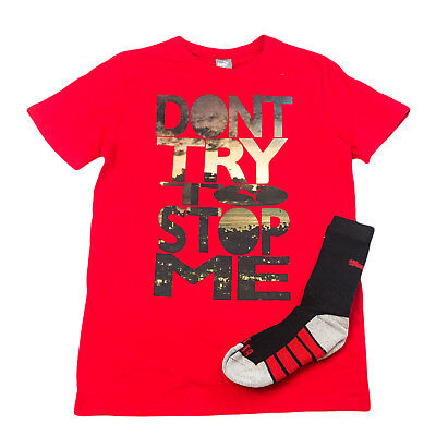 PUMA KIDS Boy's Fierce Graphic Tee w/ Crew Socks 91165155T Sz L (14-16) $20 NWT